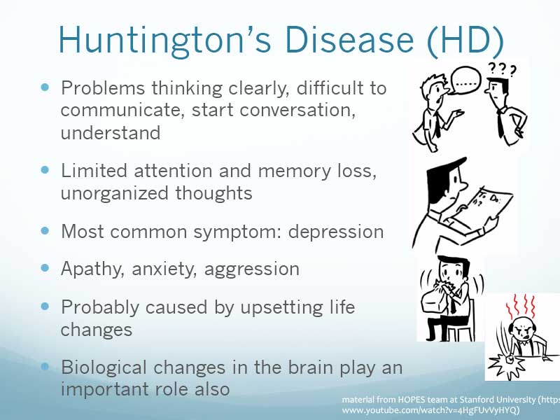 an overview of huntingtons disease introduction stages research and diagnosis Huntingtons disease - introduction to  provides an overview of the huntington's disease's  managing behavior problems in people with huntington disease .