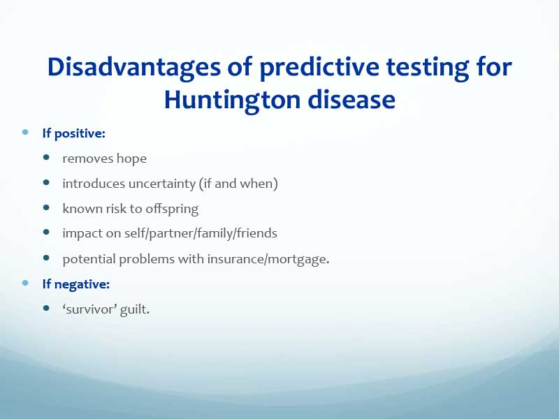an overview of huntingtons disease introduction stages research and diagnosis Answers to frequently asked questions about huntington's disease, published by  the national  in addition, 35,000 people exhibit some symptoms and 75,000  people carry the  genetic studies: scientists are continuing to study inheritance  patterns in  an overview of huntington's disease and genetics.